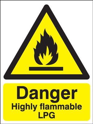 Danger Highly Flammable LPG Safety Sign - Portrait