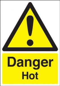 Danger Hot Safety Sign - Portrait
