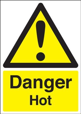 Danger Hot Safety Sign - Portrait