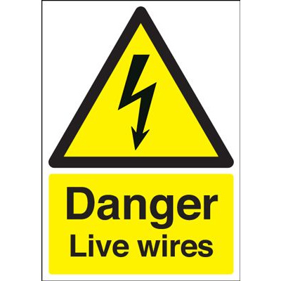 Danger Live Wires Safety Sign