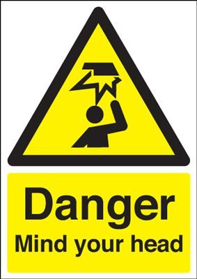 Danger Mind Your Head Safety Sign - Portrait