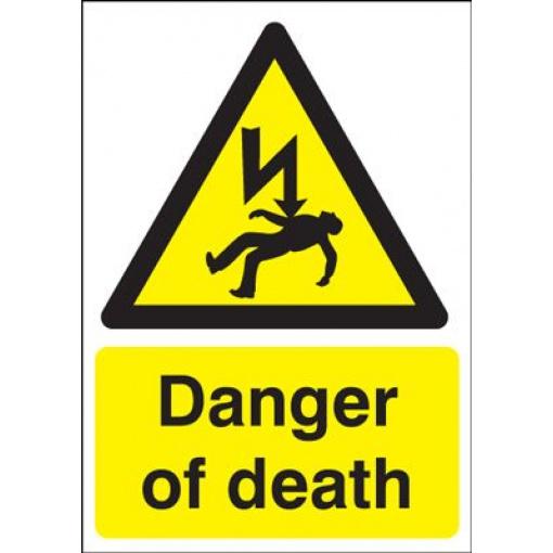 Danger Of Death Safety Sign - Portrait