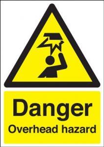 Danger Overhead Hazard Safety Sign - Portrait