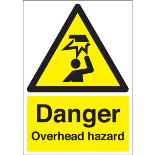 Danger Overhead Hazard Safety Sign - Portrait