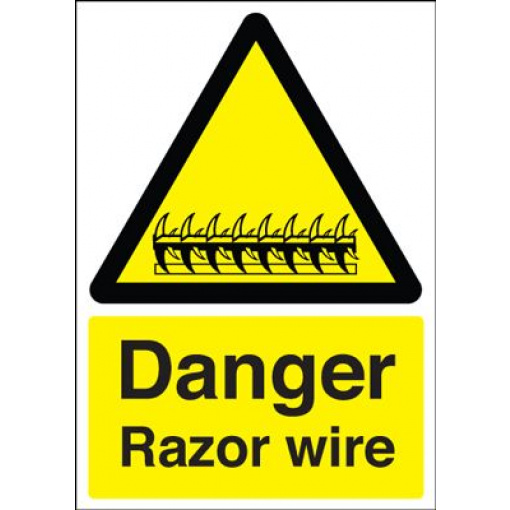 Danger Razor Wire Safety Sign - Portrait