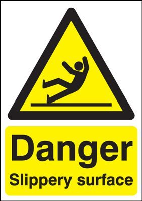 Danger Slippery Surface Safety Sign - Portrait