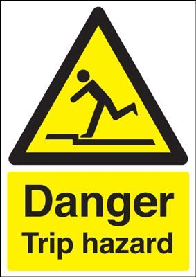 Danger Trip Hazard Safety Sign - Portrait