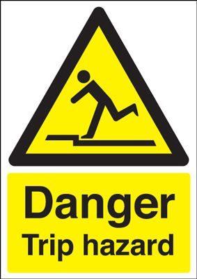 Danger Trip Hazard Safety Sign - Portrait