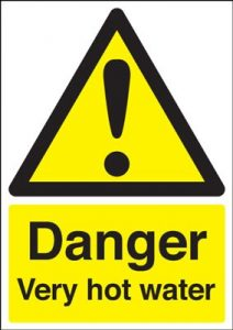 Danger Very Hot Water Safety Sign - Portrait