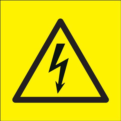 Electricity Symbol Hazard Safety Sign - Yellow Background