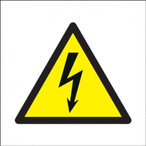 Electricity Symbol Hazard Safety Sign - White Background