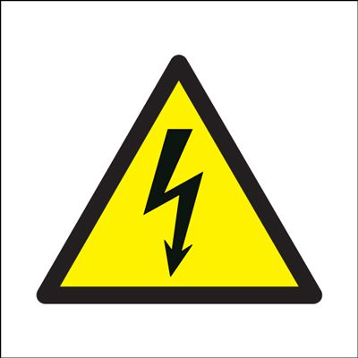 Electricity Symbol Hazard Safety Sign - White Background