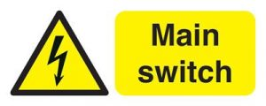 Main Switch Electrical Safety Sign - Landscape
