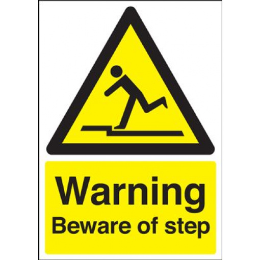 Warning Beware Of Step Safety Sign - Portrait