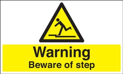Warning Beware Of Step Safety Sign - Landscape