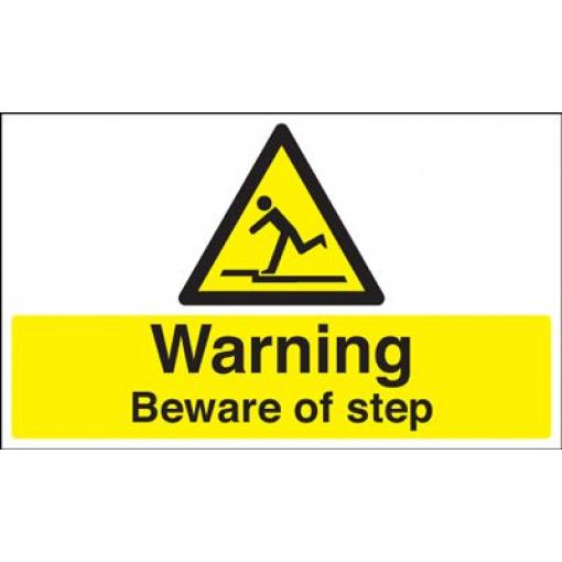 Warning Beware Of Step Safety Sign - Landscape