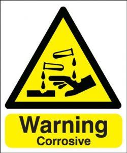 Warning Corrosive Hazard Safety Sign - Portrait