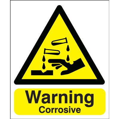 Warning Corrosive Hazard Safety Sign - Portrait