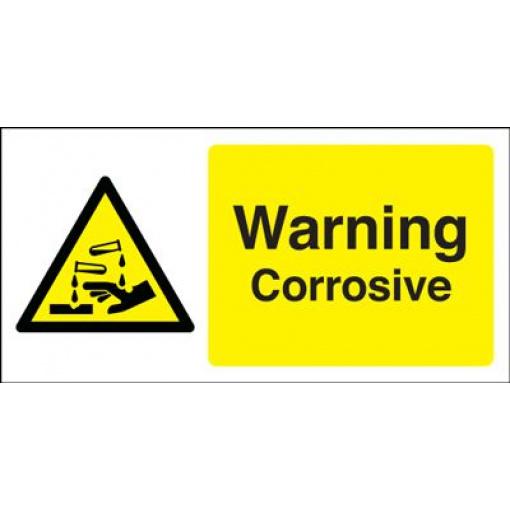 Warning Corrosive Hazard Safety Sign - Landscape