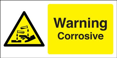 Warning Corrosive Hazard Safety Sign - Landscape