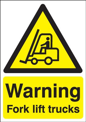 Warning Fork Lift Trucks Safety Sign - Portrait
