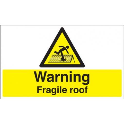 Warning Fragile Roof Safety Sign - Landscape