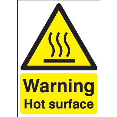 Warning Hot Surface Safety Sign - Portrait