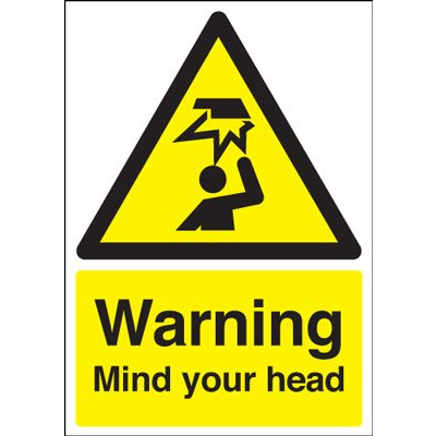 Warning Mind Your Head Safety Sign - Portrait