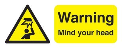 Warning Mind Your Head Safety Sign - Landscape