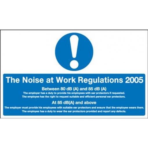 Noise At Work Regulations 2005 Information Safety Sign