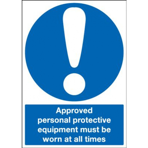 Approved Personal Protective Equipment Must Be Worn Sign - Portrait
