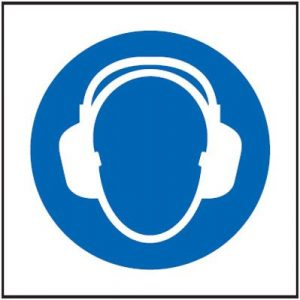 Ear Protection Symbol Only Sign - Square