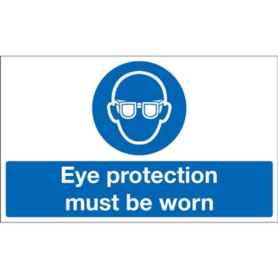 Eye Protection Must Be Worn Mandatory Safety Sign - Landscape