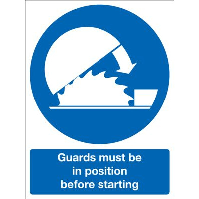 Guards Must Be In Position Before Starting Safety Sign - Portrait