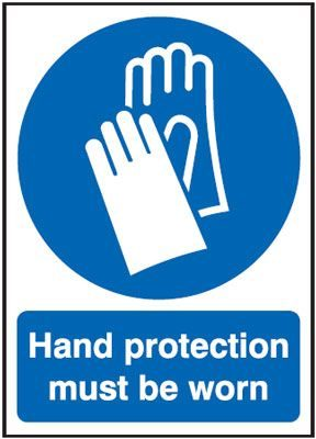 Hand Protection Must Be Worn Mandatory Safety Sign - Square