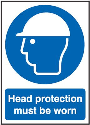 Head Protection Must Be Worn Mandatory Safety Sign