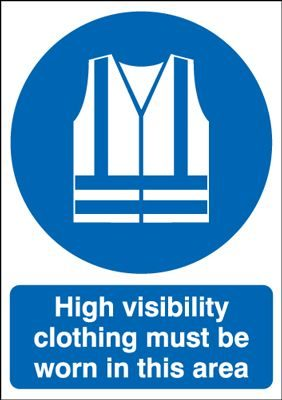 Hi Vis Clothing Must Be Worn In This Area Mandatory Safety Sign - Portrait