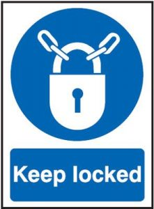 Keep Locked Mandatory Safety Sign - Portrait