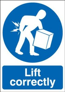 Lift Correctly Mandatory Safety Sign - Portrait