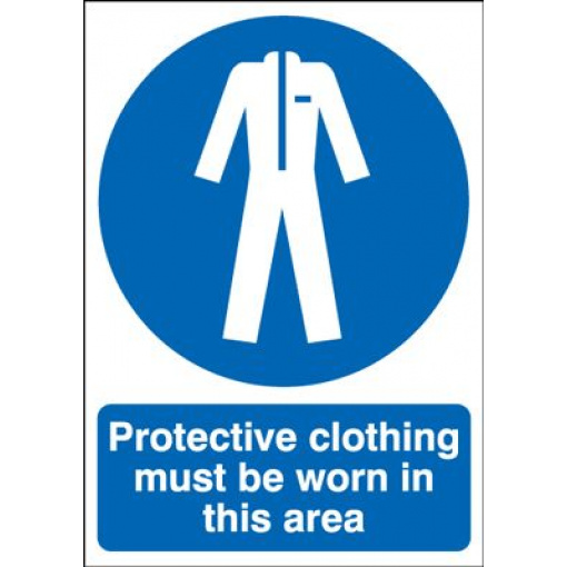 Protective Clothing Must Be Worn In This Area Safety Sign - Portrait