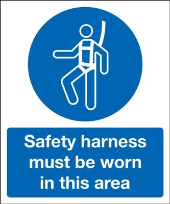 Safety Harness In This Area Safety Sign