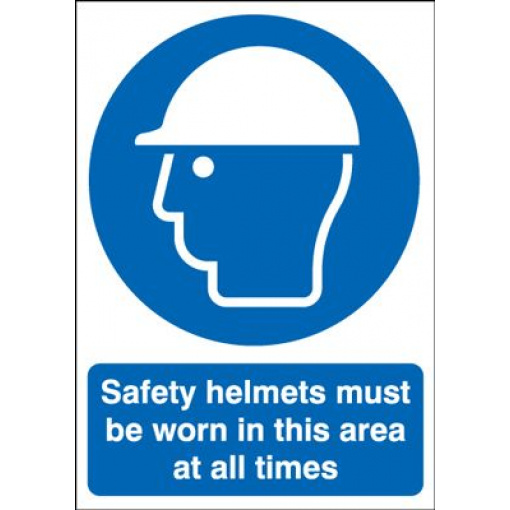 Safety Helmets Must Be Worn At All Times Safety Sign - Portrait