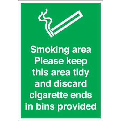 Smoking Area Discard All Cigarette Ends In Bins Safety Sign