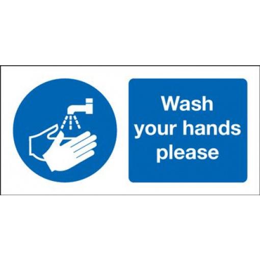 Wash Your Hands Please Safety Sign - Landscape