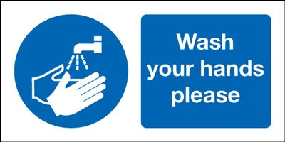 Wash Your Hands Please Safety Sign - Landscape
