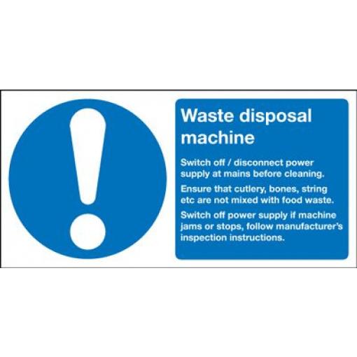 Waste Disposal Machine Information Safety Sign - Landscape
