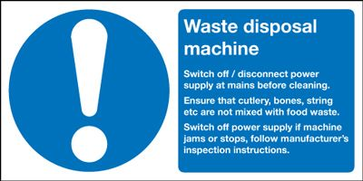 Waste Disposal Machine Information Safety Sign - Landscape