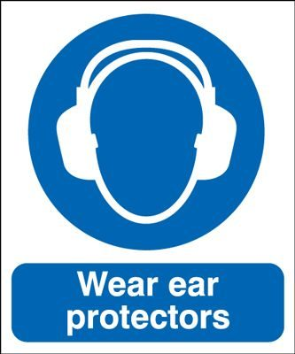 Wear Ear Protectors Mandatory Safety Sign - Portrait
