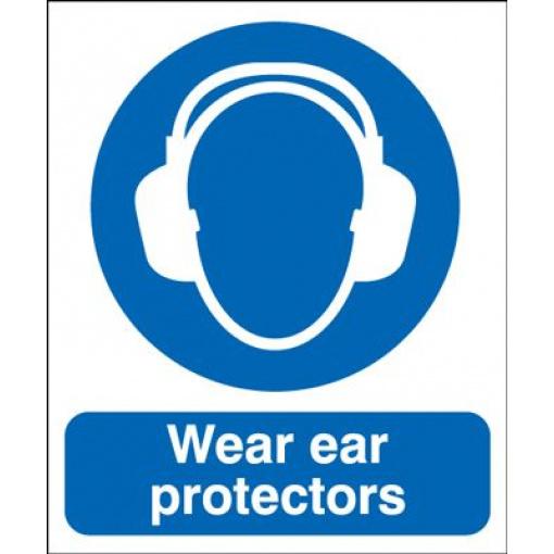Wear Ear Protectors Mandatory Safety Sign - Portrait