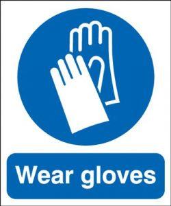 Wear Gloves Mandatory Safety Sign - Portrait